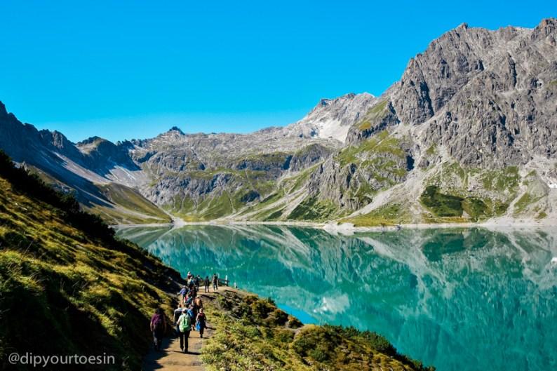 Hiking at Lünersee Lüner Lake near Bludenz Vorarlberg, Austria, by Christa Engstler