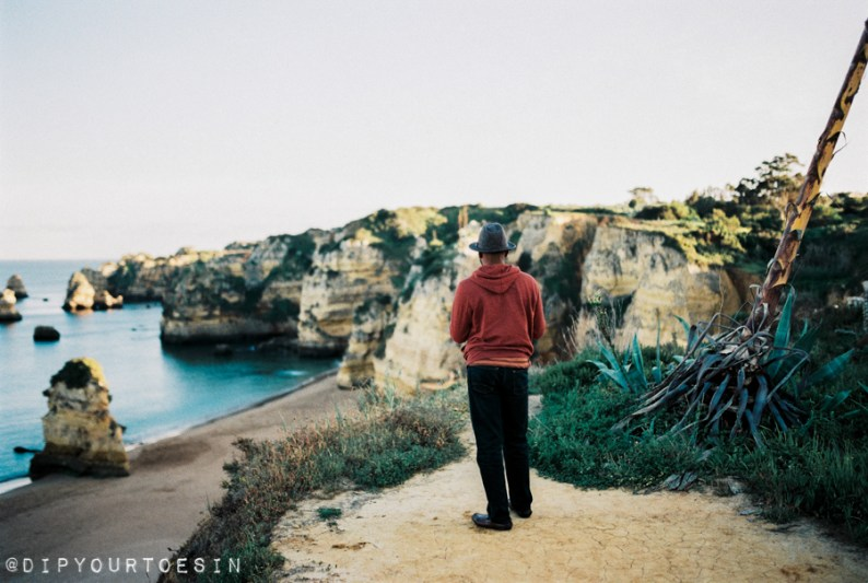 View of coastline at Praia Dona Ana, Lagos, Algarve, Portugal