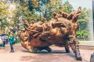 Javier Marín bronze head, Luis Cabrera Square, Ciudad de México, Mexico City