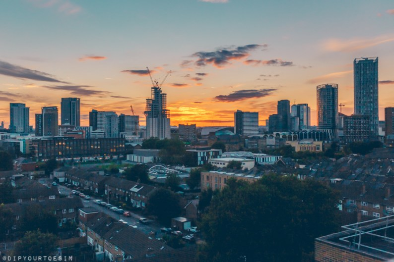 Sunset view from Dezign Suite in Roomzzz Stratford East London | Aparthotel