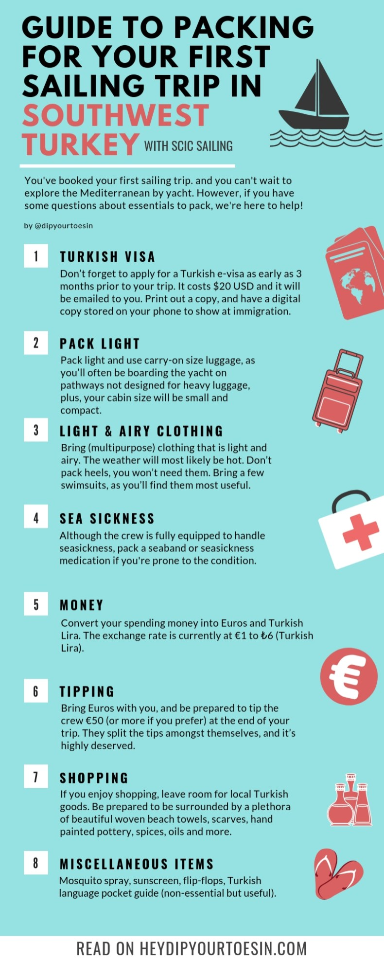 Sailing packing guide
