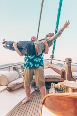 Guests having fun aboard Nemesis yacht in Turkey