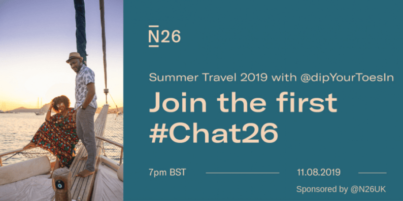 Invitation to join the Chat26 Twitter chat to talk about summer travels