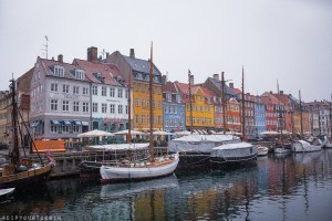Colourful buildings in Nyhavn Harbour, Copenhagen in winter