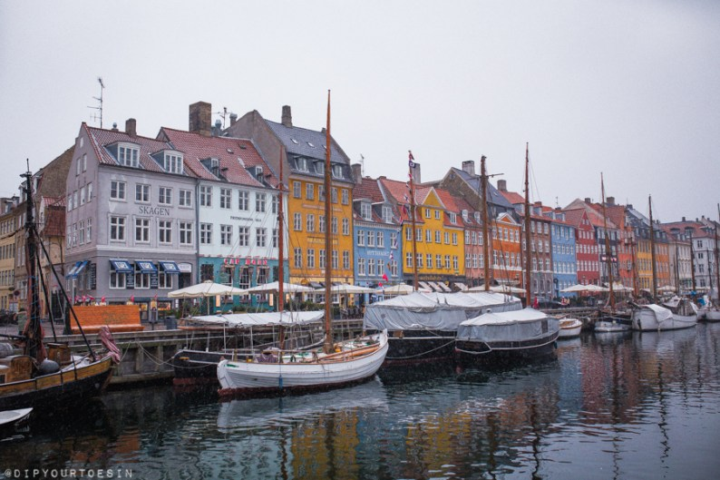 Colourful buildings in Nyhavn Harbour, Copenhagen in winter