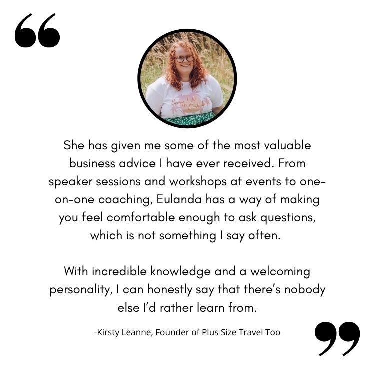 Kirsty Leanne provides a testimonial regarding Eulanda's coaching and teaching ability