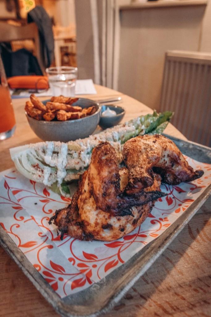 Rotisserie chicken dinner at The Old House Inn, Copthorne