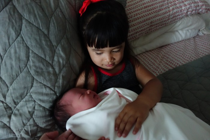 eva and isa's first photo together.