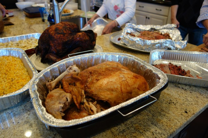 the turducken (foreground) and one of our turkeys.