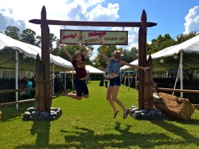 Bonnie and Melissa having a jumping good time!