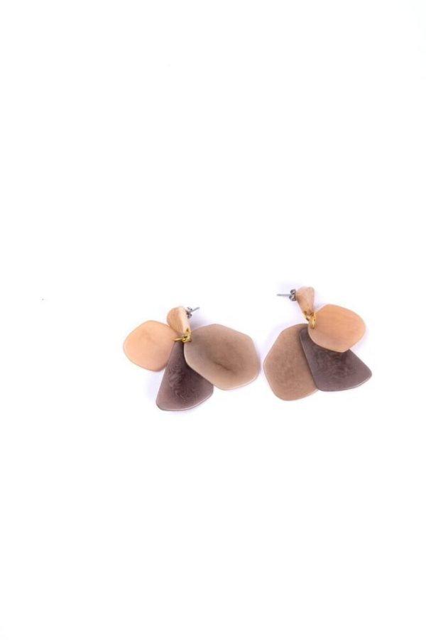 Ethically made Neutral color Stone treasure dangling earrings with surgical steel earring post.