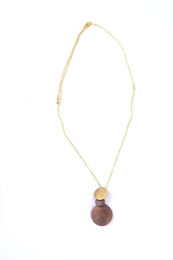 Environmentally friendly Overlapping Opal Gray Tagua Disc Pendant and adjustable brass chain.