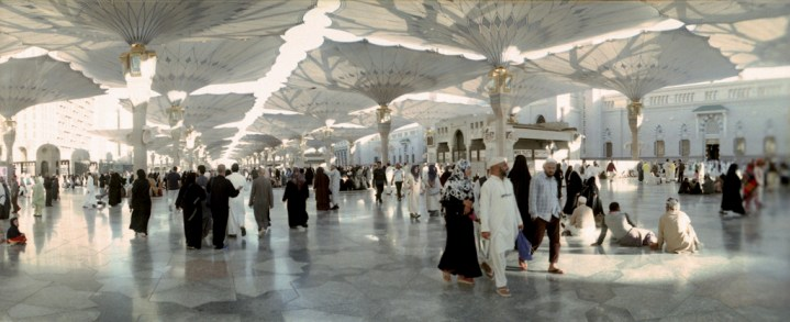 The retractable umbrellas of Nabawi Mosque.