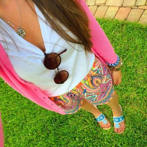 Shorts: Original Piece Boutique Top&Sweater: Target Shoes: Jack Rogers Accessories: GBeads, Alex&Ani, & MK Watch