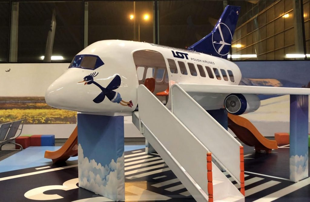 Aviation themed playground for kids at Warsaw Chopin Airport, Poland