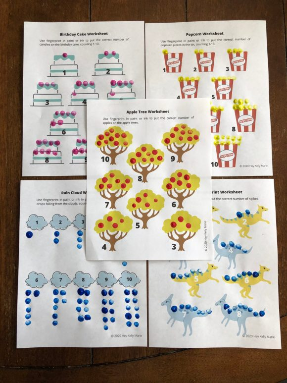 Worksheets included in the free preschool math worksheet.