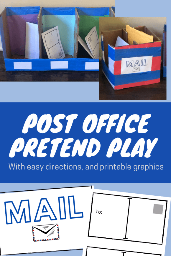 Pinterest pin showcasing post office dramatic play center photos and pdf graphics.