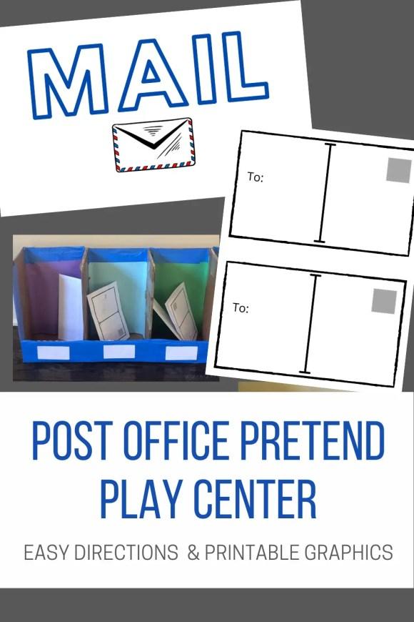 Pinterest pin describing post office dramatic play center.