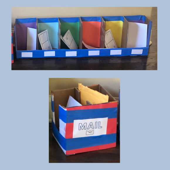 Our Post Office Dramatic Play Center included mailboxes for each member of our family (we later put everyone's names on the labels) and a large general mailbox, where customers could drop their mail.