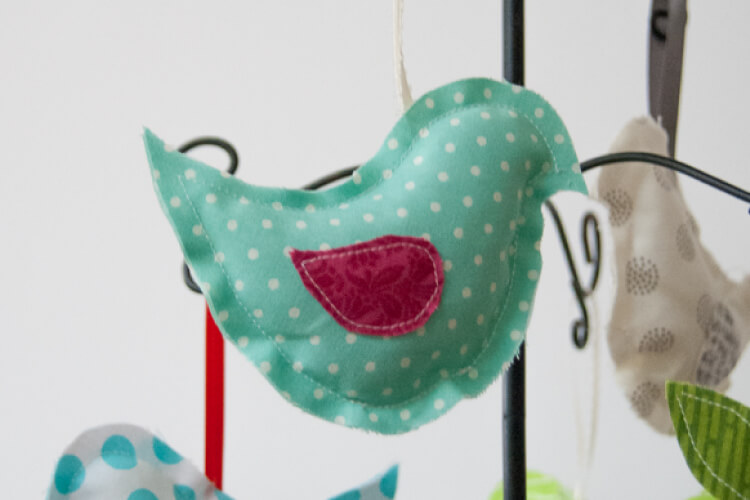 DIY hanging partridge ornament made from fabric