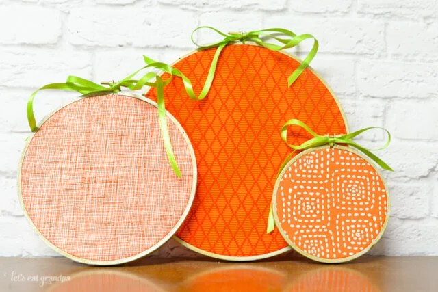 Pumpkin embroidery hoops in three different sizes
