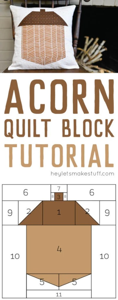 Get the free pattern for making this little acorn quilt block! Perfect for sewing a fall pillow—or make a bunch for a quilt!
