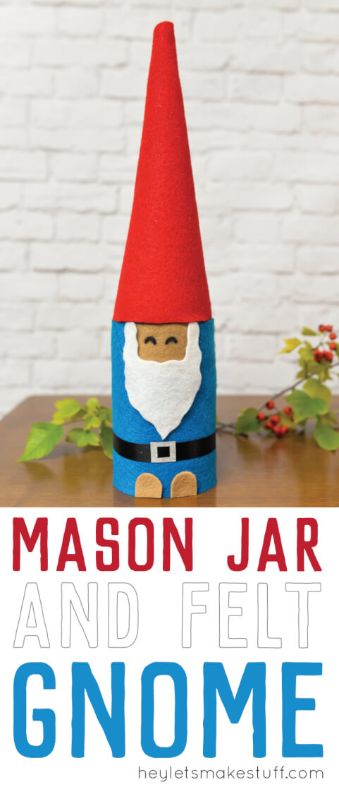 This Christmas Gnome is made from a mason jar and felt! A quick Christmas craft that makes a cute holiday gift idea! via @heyletsmakestuf