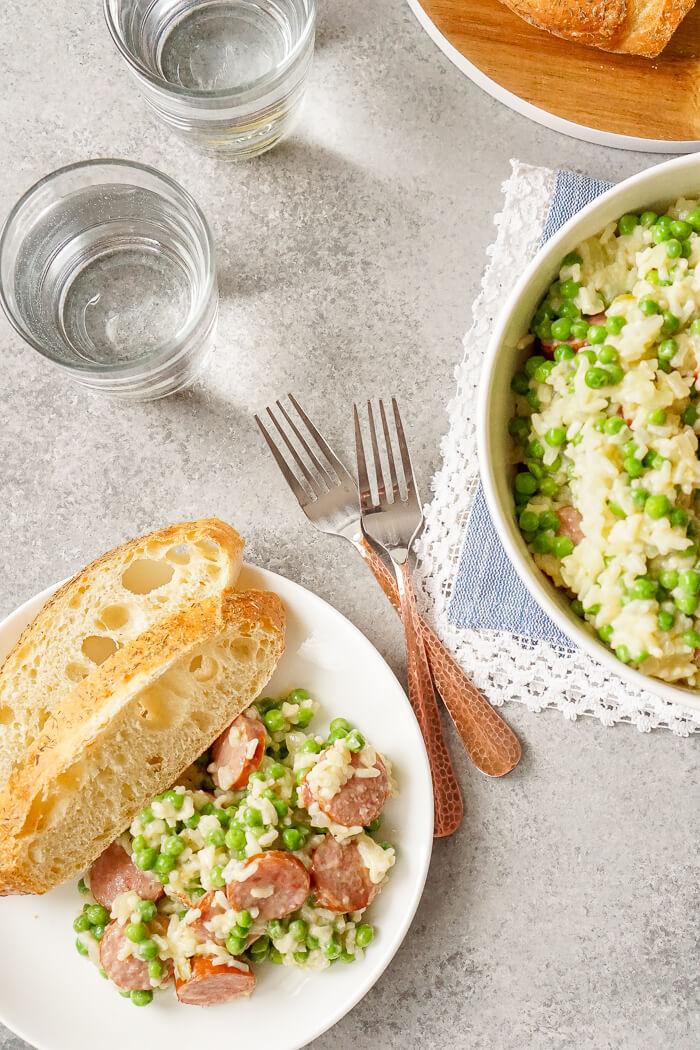 Easy Weeknight Dinner: Polska Kielbasa Casserole with Peas and Rice. REAL comfort food, and perfect for potlucks!