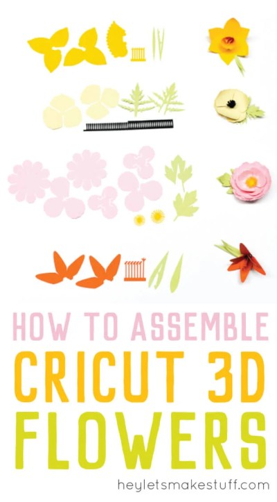 Cricut's 3D Flowers can be a little tough to assemble. Here are detailed instructions on how to assemble the Daffodil, Tiger Lily, Poppy, and Peony. #cricutflower #cricutmade #cricut #papercrafting
