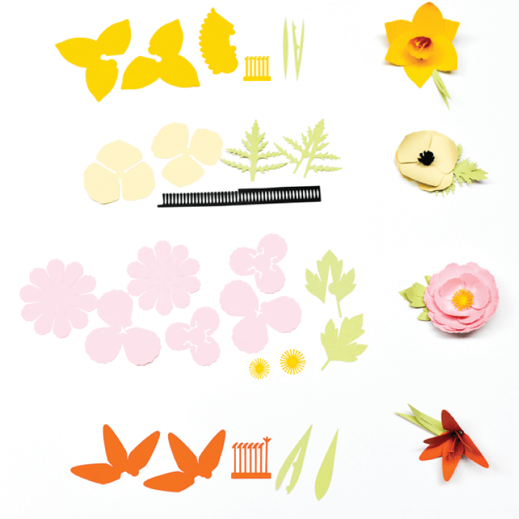 How to assemble the Cricut flowers: daffodil, poppy, peony, and tiger lily.