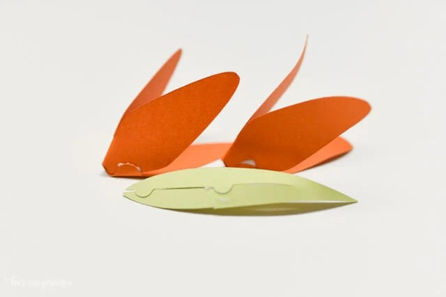 How to Assemble the Cricut Tiger Lily - Two flower pieces and leaf assembled