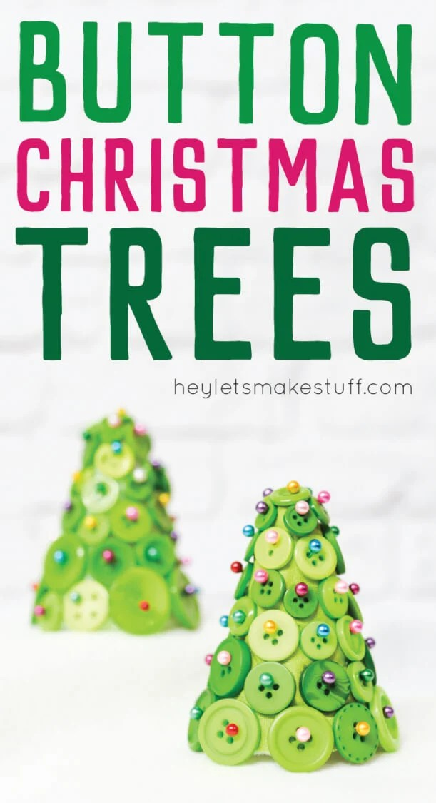 Buttons, straight pins, and foam cone equal an adorable and easy Christmas tree! A fun craft project to make your holidays special. via @heyletsmakestuf