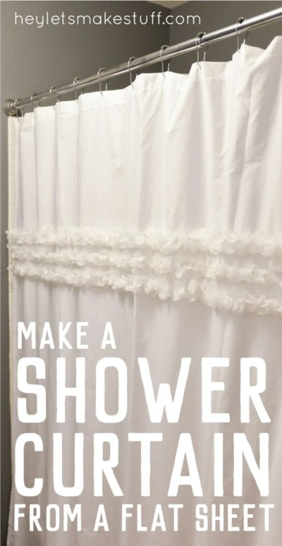 How to make a custom shower curtain using a flat sheet and an old shower curtain as a template -- then embellish as desired!
