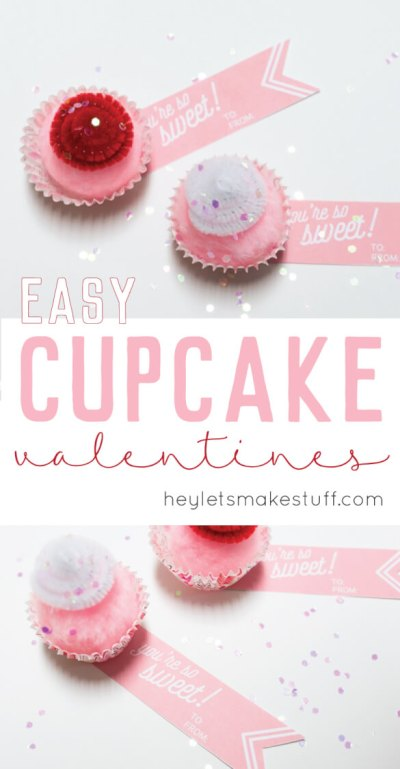 Cupcake valentines are an adorable, calorie-free treat! An easy Valentine's Day craft to hand out to classmates, coworkers, or that special someone.
