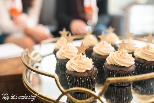 chocolate cupcakes with start toppings