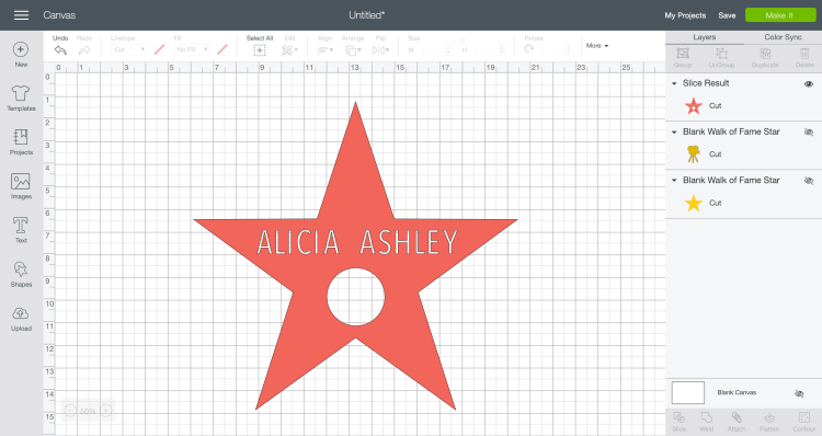 Sliced Star with the Name Cutout