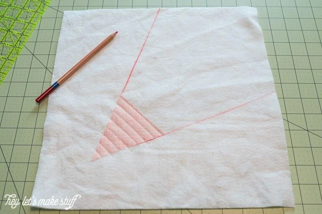 batting and fabric for Go Fly a Kite QAYG finished quilt block