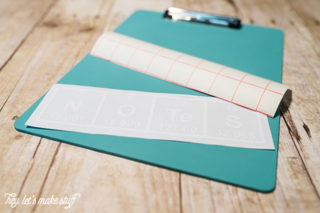 periodic SVG and transfer tape on painted teal clipboard