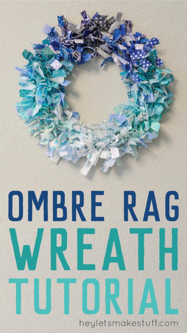 DIY ombre rag wreath pin image