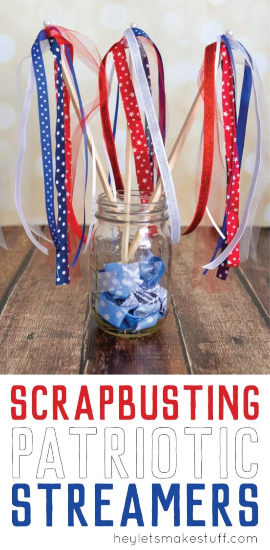 These scrapbusting streamers are perfect for patriotic parades! And they can be made with stuff you probably already have in your stash. #memorialday #fourthofjuly via @heyletsmakestuf