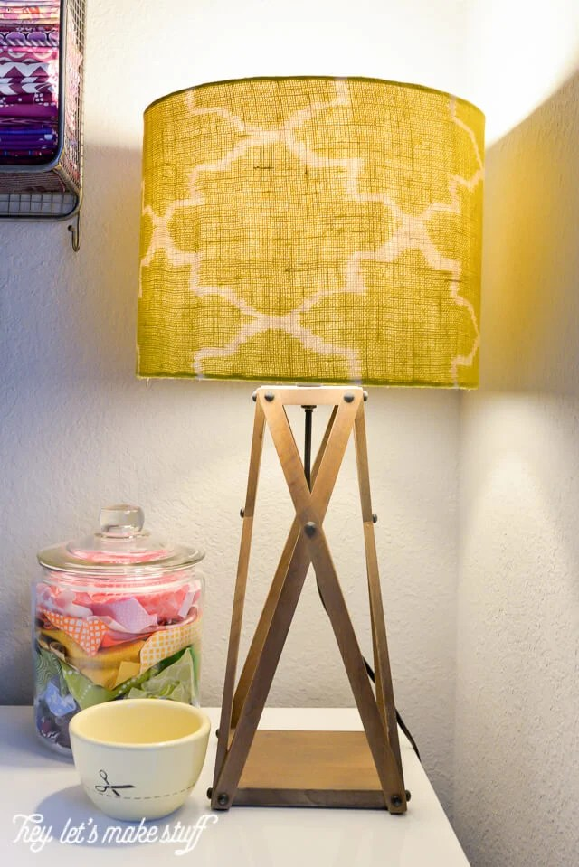 large green lamp on sewing table