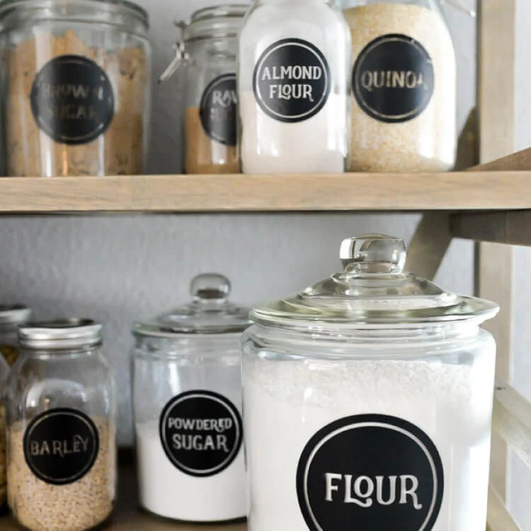 Pantry jars with custom labels