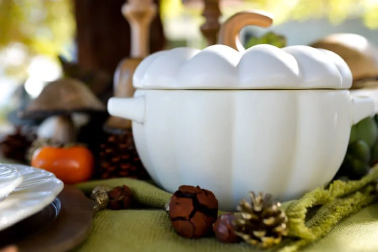 white pumpkin porcelain serving dish