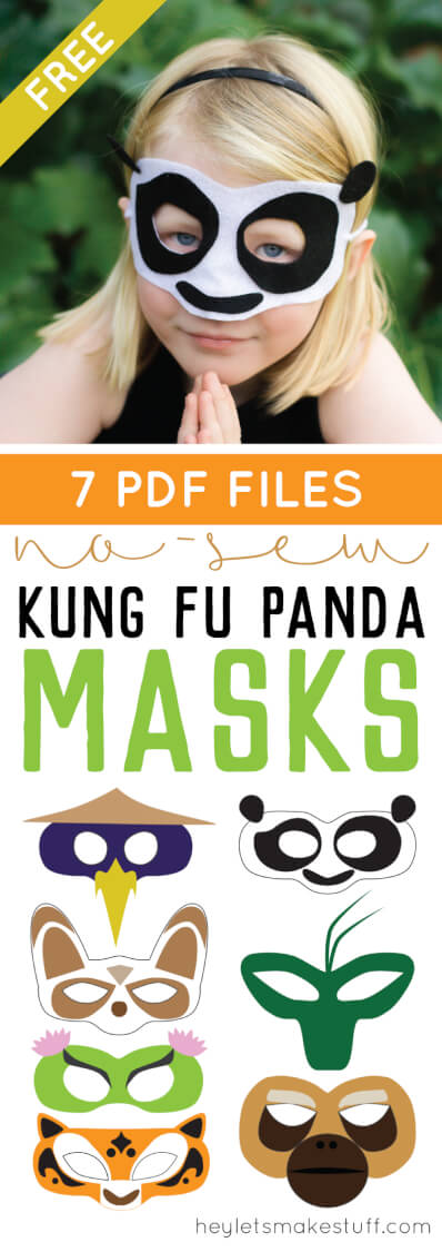 Is your kid (or you!) obsessed with Kung Fu Panda 3? Make these no-sew felt masks! There's Po, Tigress, Viper, Crane, Mantis, Monkey, and of course, Master Shifu. So fun for a Kung Fu Panda birthday party, too! Templates and instructions included. via @heyletsmakestuf