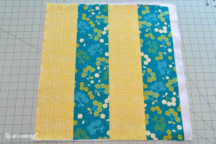 step 5 - Quilt-As-You-Go with big stripes panel