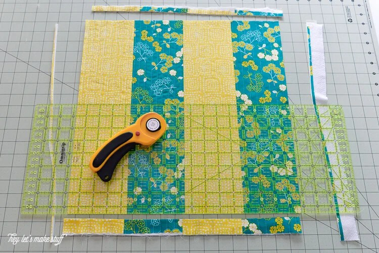 step 8 - Quilt-As-You-Go with big stripes panel