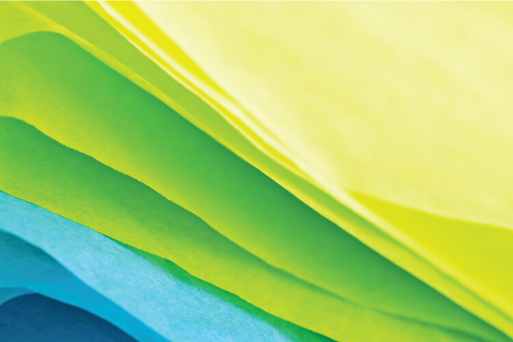tissue paper in a variety of colors