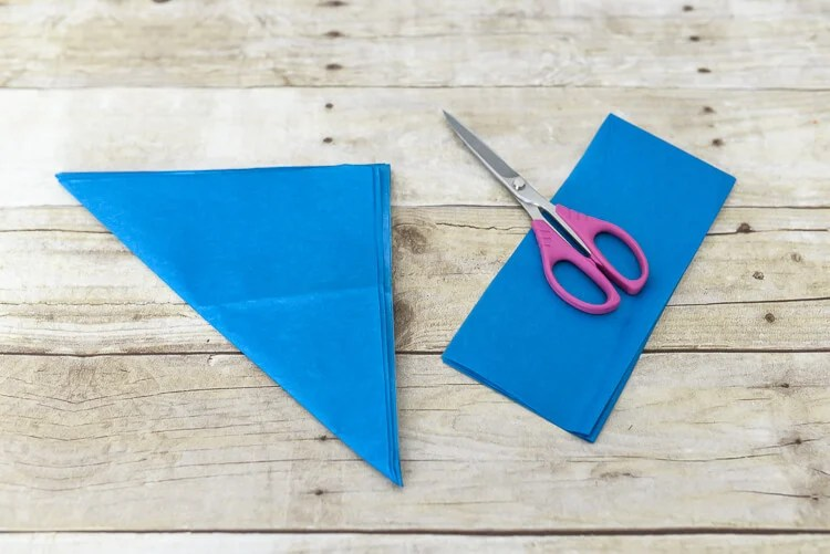 make tissue paper fireworks - trim off the excess