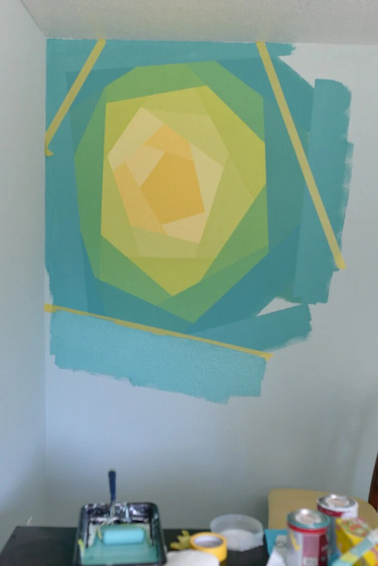 painted flower wall mural using Frog Tape - step 8