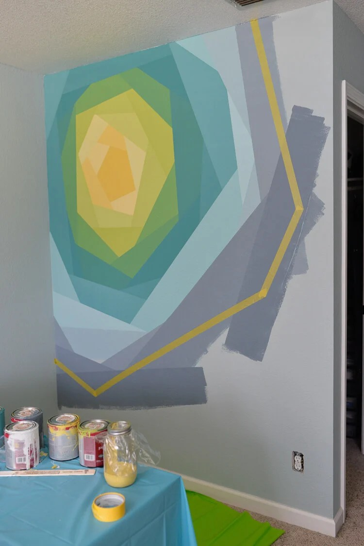 painted flower wall mural using Frog Tape - step 9